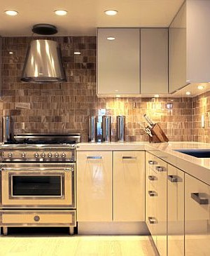 Ultra modern glossy kitchen with under cabinets lighting