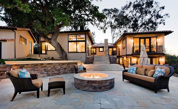 ultra modern patio with stylish firepit