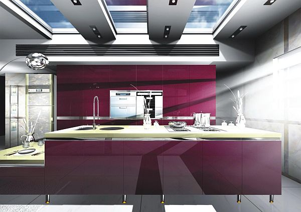 ultra modern purple kitchen