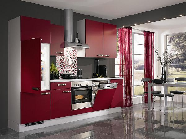 red kitchen cabinets design Dark red painted wood kitchen design