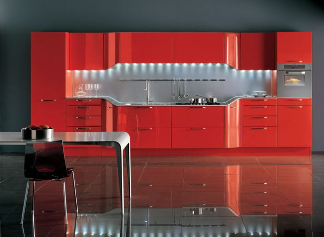 Ultra modern tangerine red kitchen design