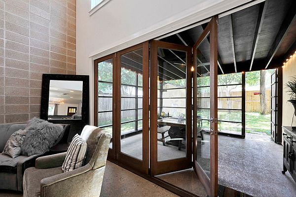 ultra modrn sunroom with retractable doors