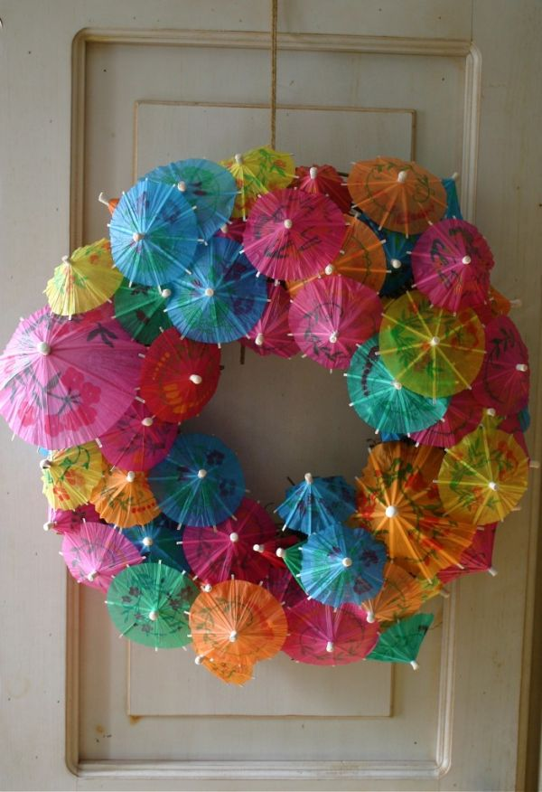 A DIY paper umbrella wreath