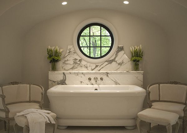 White art deco bathroom with simple elements