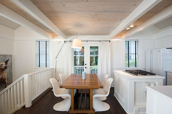 white washed ceiling wood
