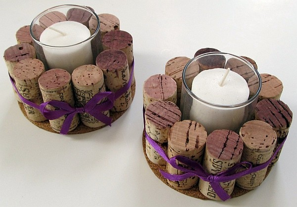 Stylish DIY candle with wine cork as a holder