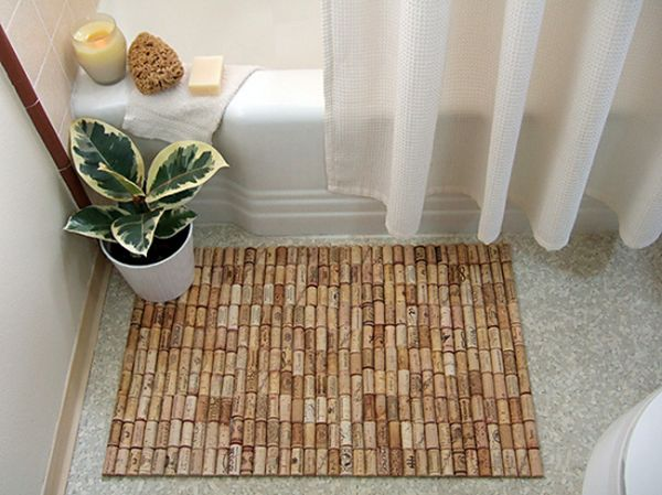 DIY wine cork bathmat