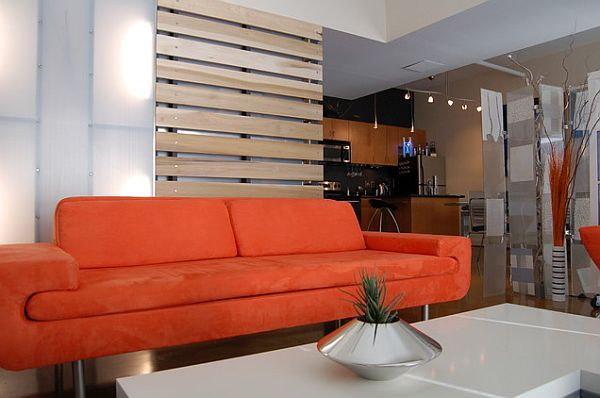 Wooden slats as living room dividers