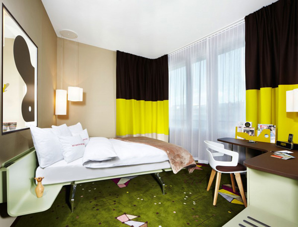 yellow and green themed room