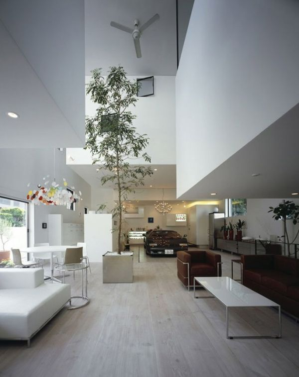 A giant tree and a parked car make the KRE House living space truly unique