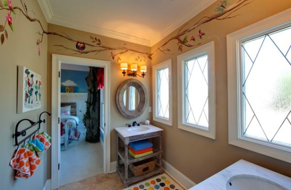 An open shelf and a cute towel rack stand out in this cute kid's bathroom space