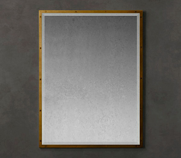 Antiqued brass mirror