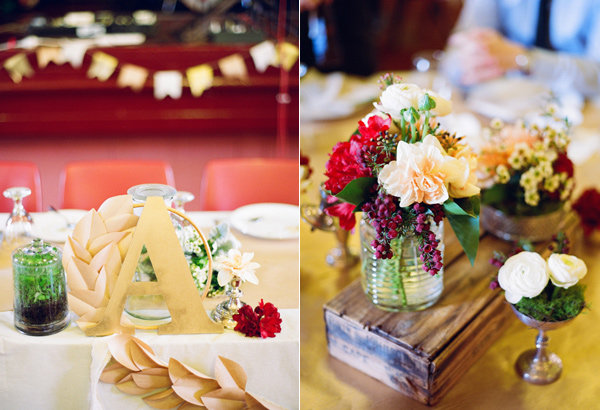 Art Deco wedding tables with bountiful flowers
