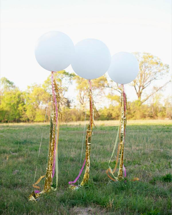 Balloon and fringe party decorations