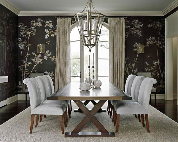 Bamboo dining room wallpaper