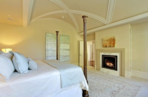Barreled ceiling with beautiful trim inside offers an interesting variation from the monotony