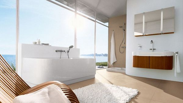 Bathrom with large glass windows and chic design
