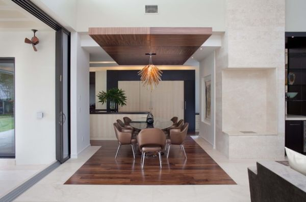 Elegant View In Gallery Beautiful Ceiling Creates A Virtual Island Of Wood To  Accommodate The Dining Area Part 13