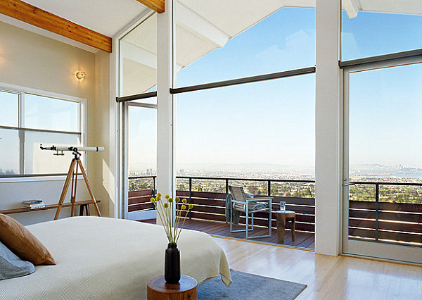 Bedroom with a telescope and a view