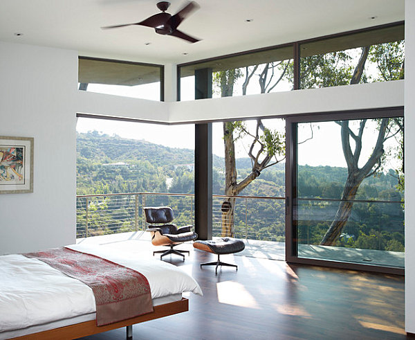 Bedroom with a view and a deck