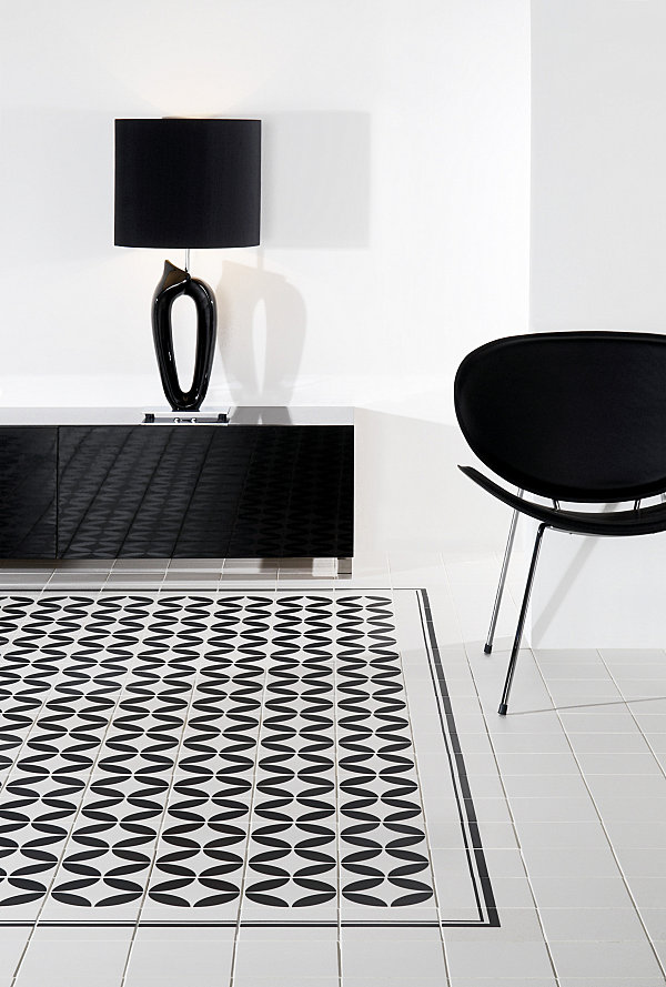 Black and white ceramic tile