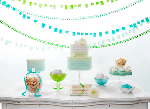 Blue and green ombre wedding table
