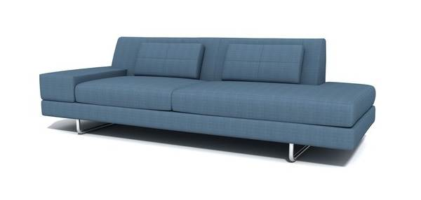 Blue one-arm sectional sofa