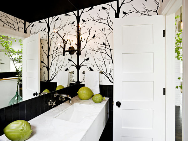 Bold black and white bathroom wallpaper