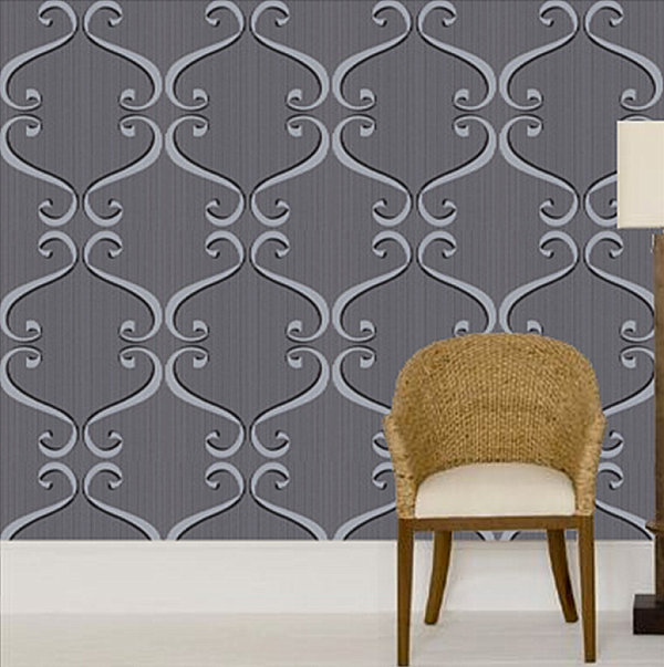 Bold wallpaper in black, white and grey