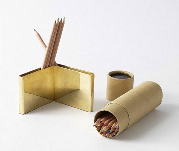 Brass pencil holder