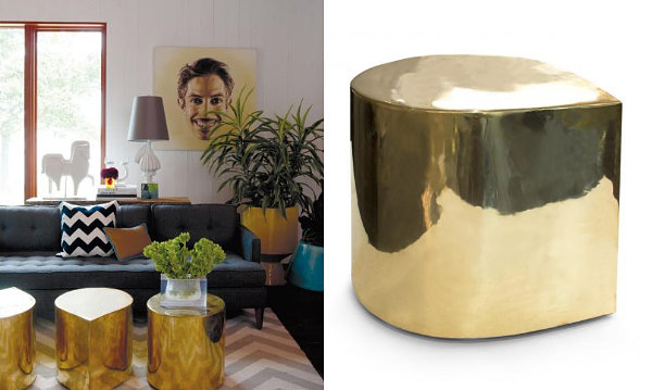 Brass teardrop tables from Jonathan Adler