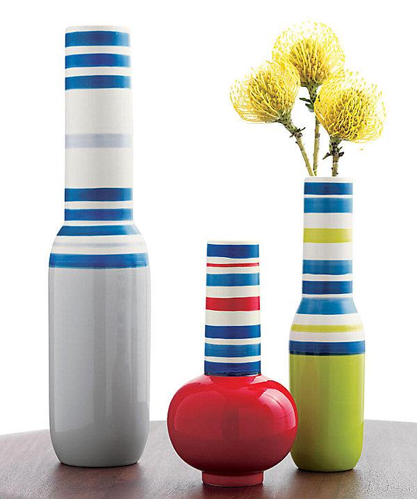 Bright striped vases