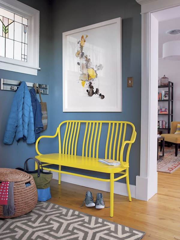 Bright yellow bench