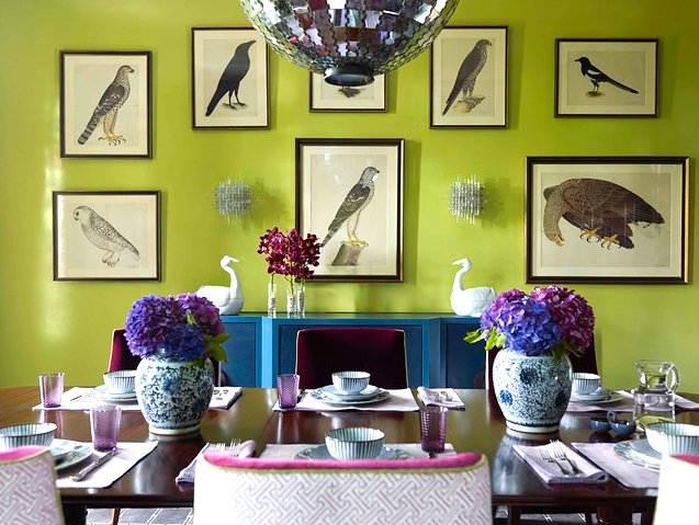 Chartreuse dining room Vivid Interior Color Combinations for the Modern Home
