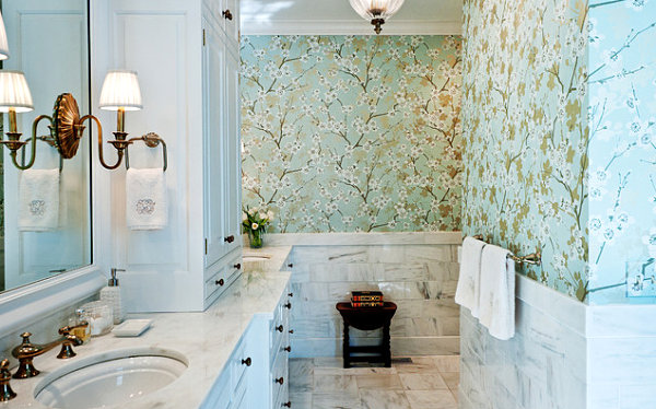 Cherry blossom wallpaper in a powder room