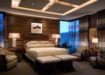 Chic ceiling design with multiple illuminated squares for the lavish bedroom