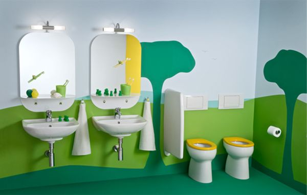 View in gallery Children's bathroom with a extravagantly playful and vivid  theme
