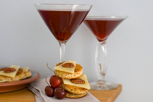 Classic cocktail appetizers of cheese, nuts and fruit