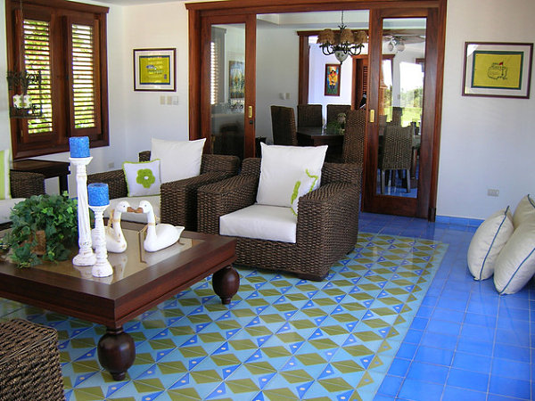 Colorful cement tile Tile Floor Design Ideas