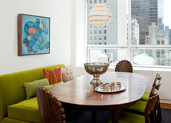 Colorful dining room with modern style and a view