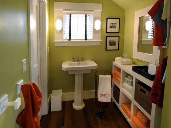 Compact kids bathroom design in natural green