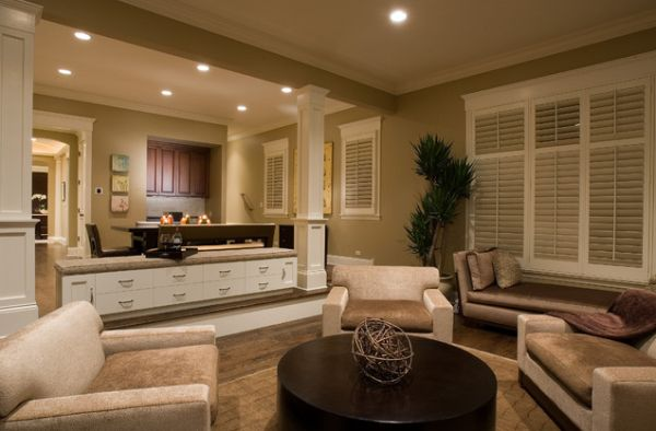 Contemporary family room sporting wooden shutters in neutral tones 15 Modern Wooden Shutters For a Fancy Home