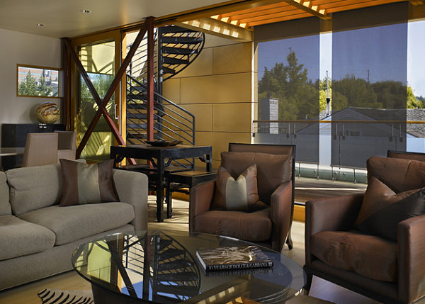 Contemporary houseboat living room