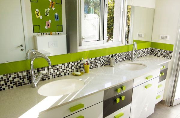 Contemporary kids bathroom with fresh green hues and an airy appeal