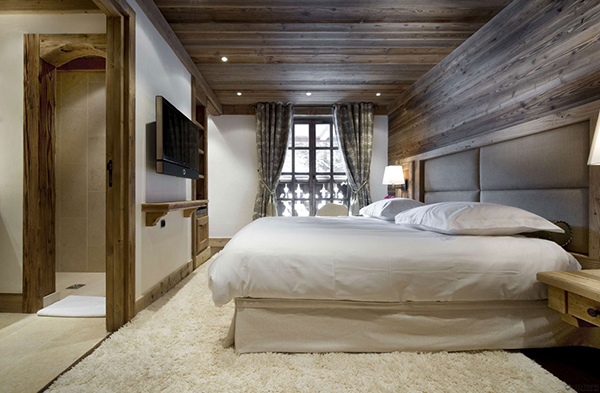 Romantic winter chalet in courchevel charms with its for Winter bedroom