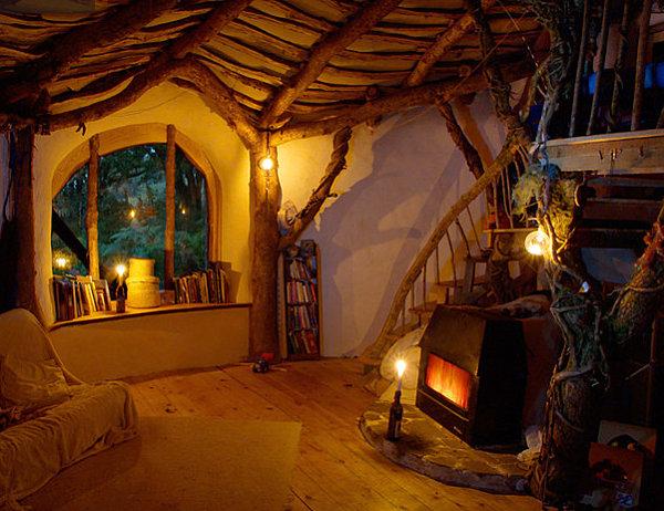 Cozy interior of a woodland home
