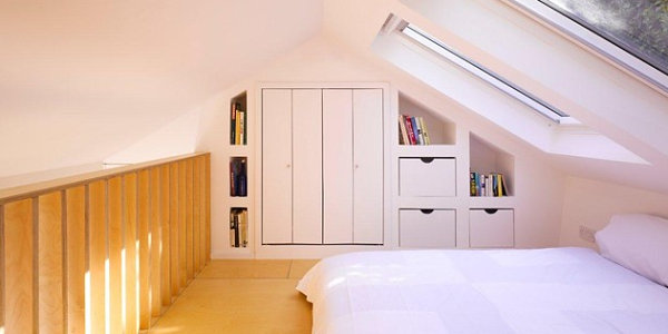 Crisp bed in a light and airy loft