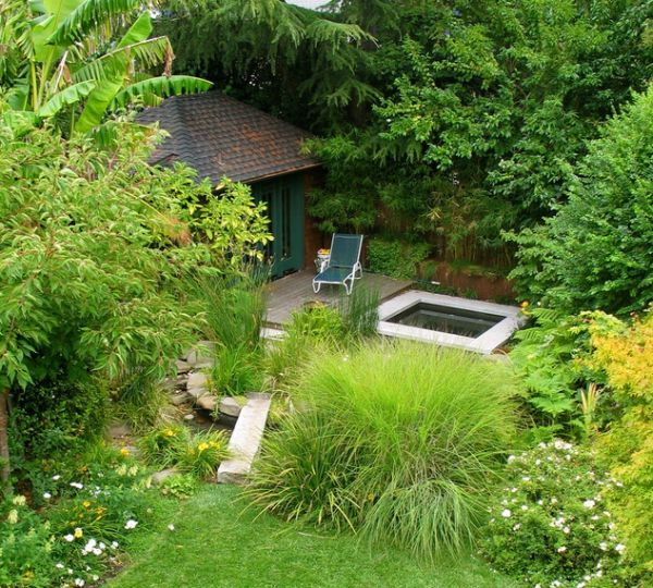 28 japanese garden design ideas to style up your backyard for Japanese decking garden