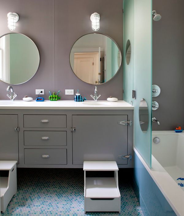 Dazzling contemporary kids' bathroom offers a look of class