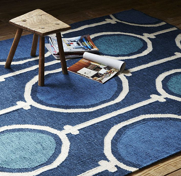 Dhurrie rug in royal blue